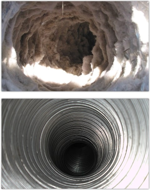 Before and After Dryer Vent Cleaning